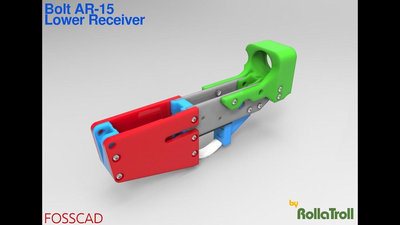 FOSSCAD:  3DPrinted Bolt AR-15 Lower Receiver [Test Fire]
