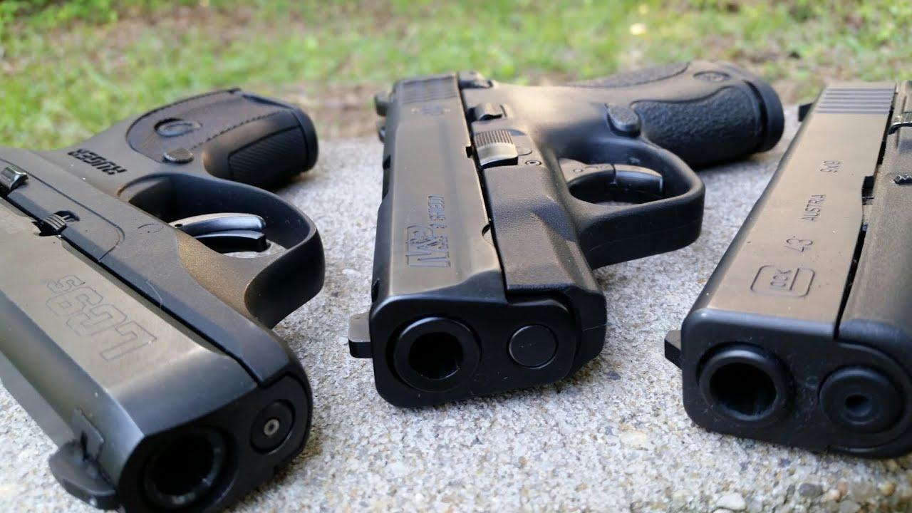 Glock 43 vs Lc9s Pro vs M&P Shield...Battle Of The Single Stacks Part 1