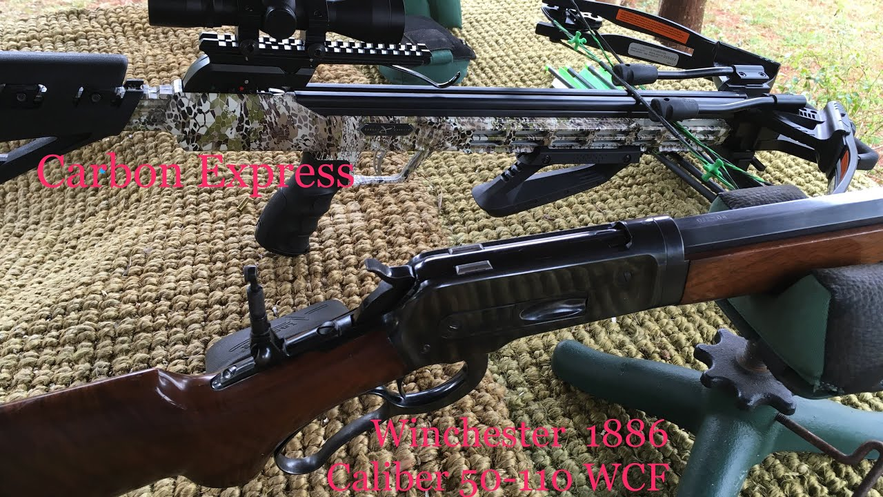 Carbon express pile driver 390 Crossbow vs 1886 Winchester lever action Cal 50-110 vs wet clay