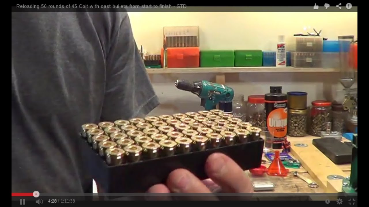 Reloading 50 rounds of 45 Colt with cast bullets from start to finish - STD