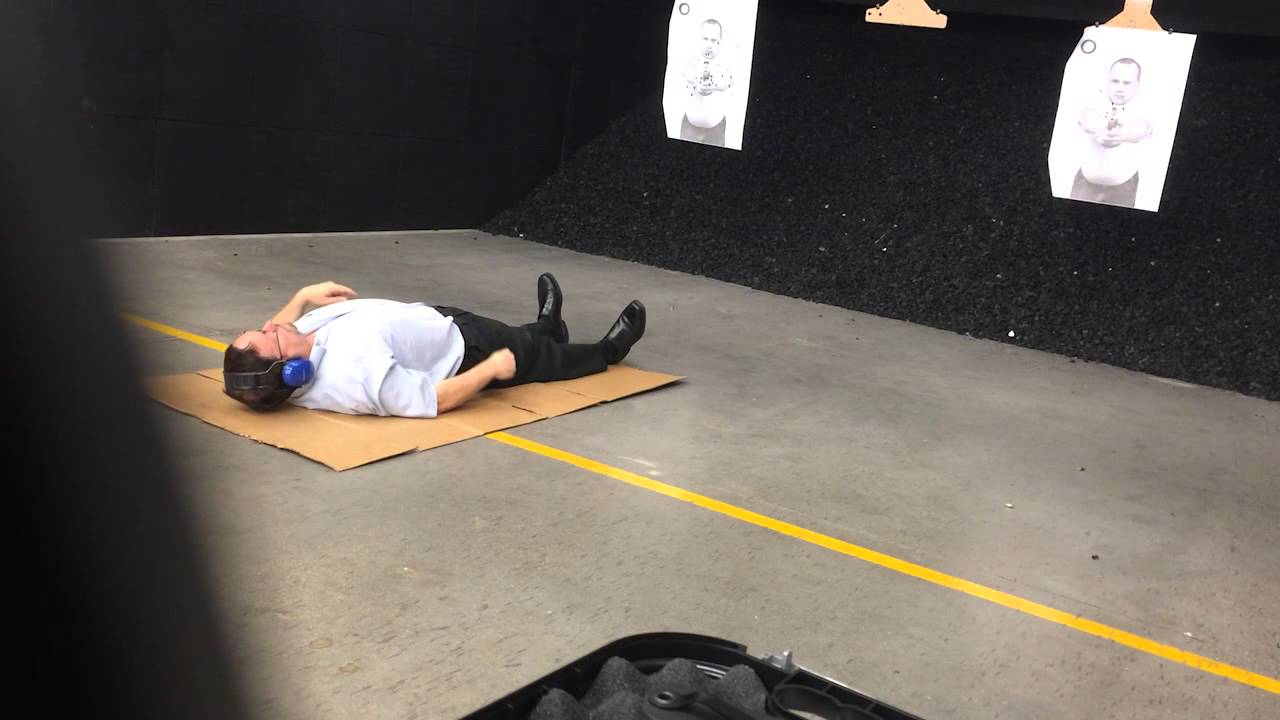 Training to shoot a pistol on your back with an injured strong hand