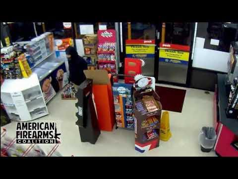 Hatchet-Wielding Thief Backs Down When Store Clerk Pulls Out Gun