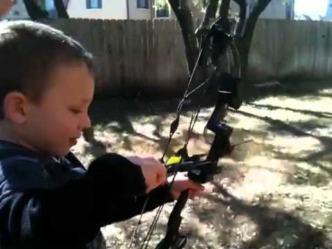 5 year old Practicing with a Compound Bow