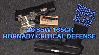.40 s&w 165gr Hornady Critical Defense Smith and Wesson Shield vs. Sig p239