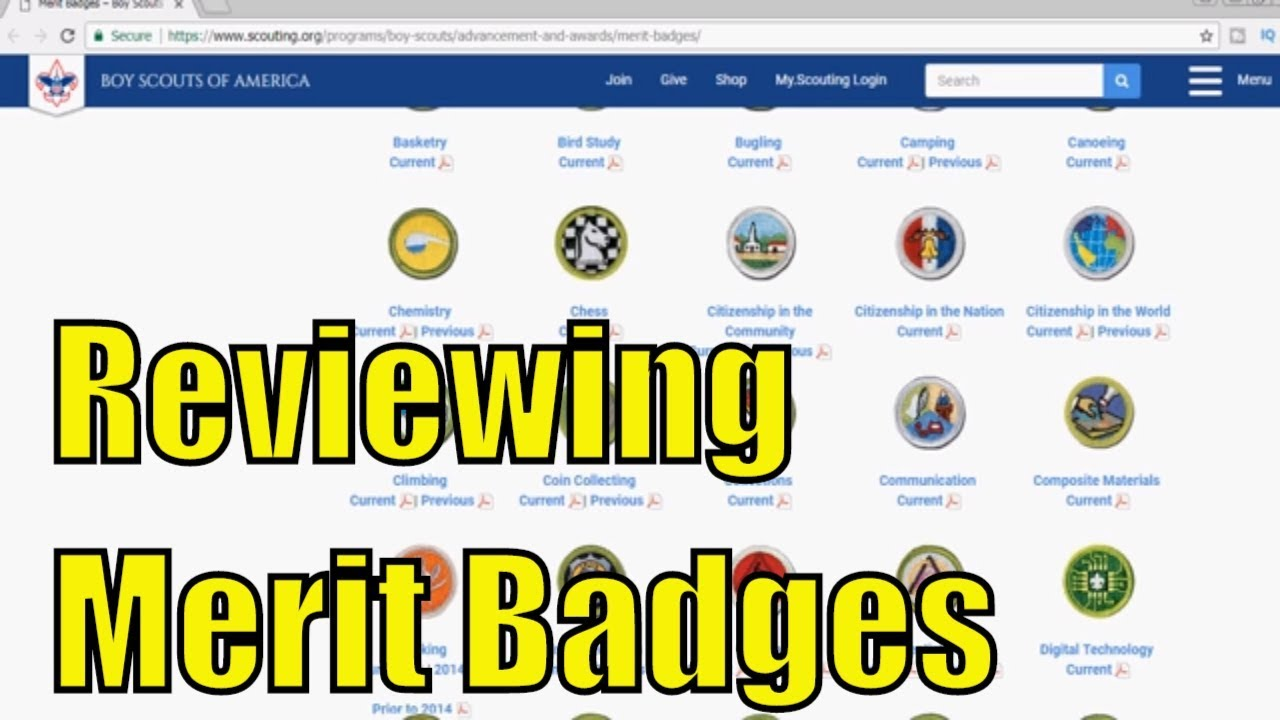 Reviewing Boy Scouts of America - Current Merit Badges - Part 2 of 6 with merit badge pamphlet