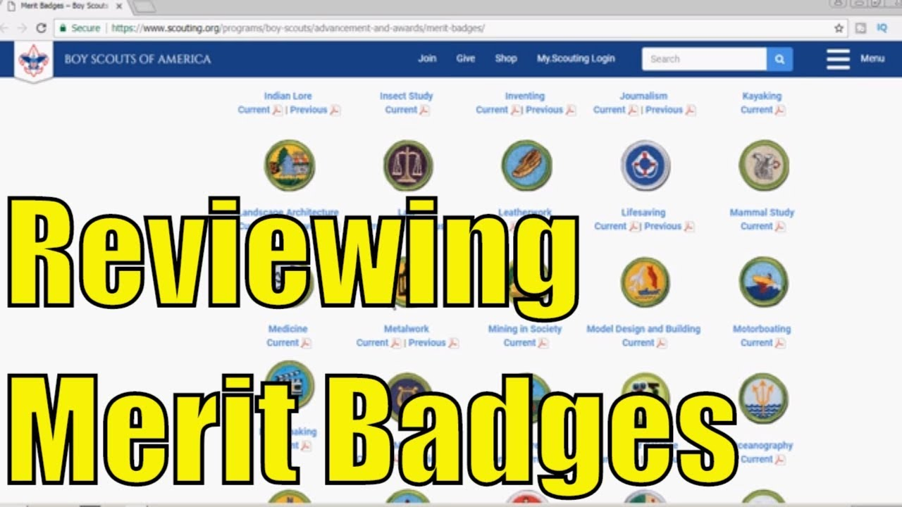 Reviewing Boy Scouts of America - Current Merit Badges - Part 4 of 6 earn merit badges