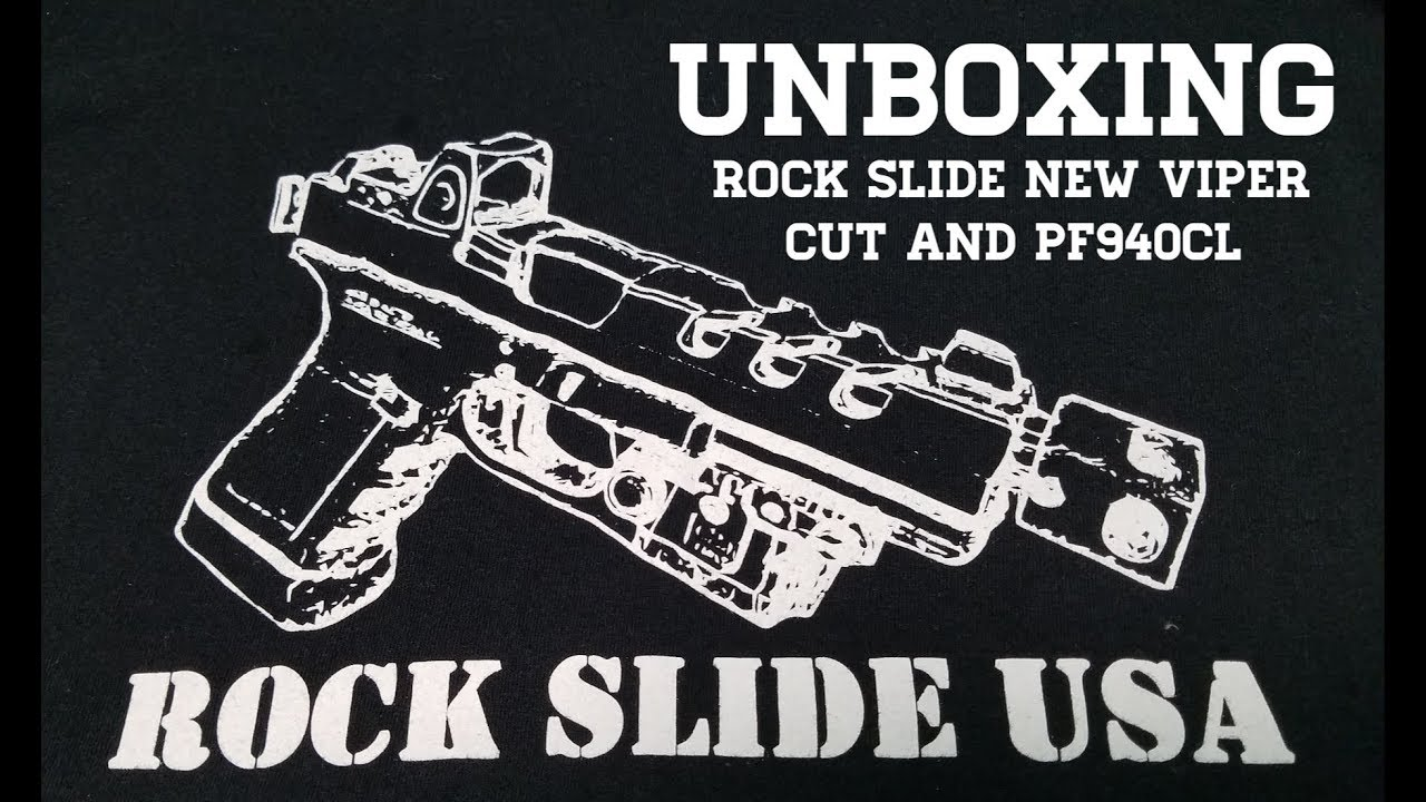 Unboxing Rock Slides new viper cut slide and the pf940cl frame...