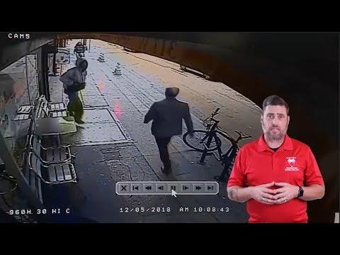 Crazy Man Pushes Stranger Onto The Street