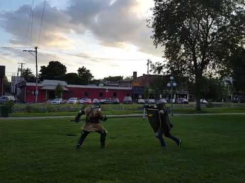 Spear vs Shield sparring - Vassilis vs Tylor