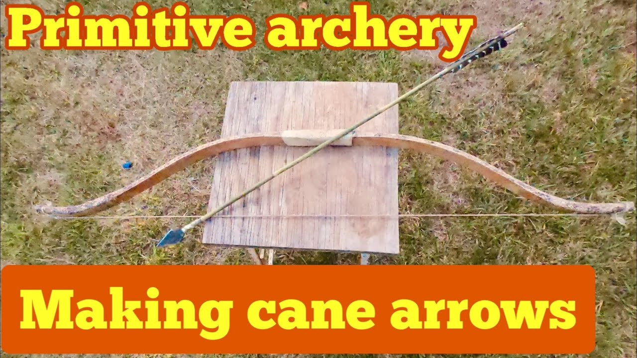 Making primitive arrows from cane, using real sinew and turkey feathers