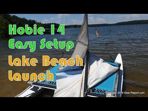 Hobie 14 Easy Setup - From the lake beach to sailing