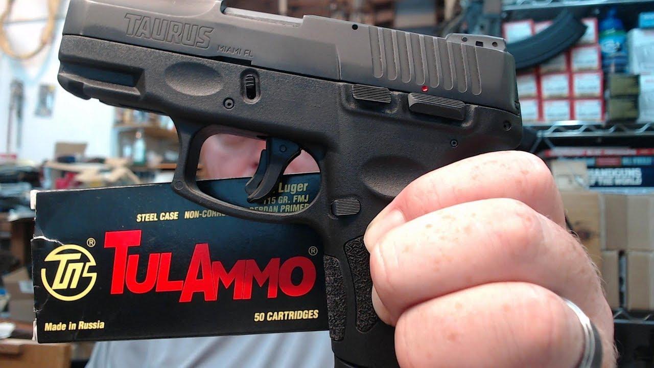 Taurus G2C 9mm Pistol Shooting : TulAmmo Steel Case Ammo With 12 Rd OEM Mag