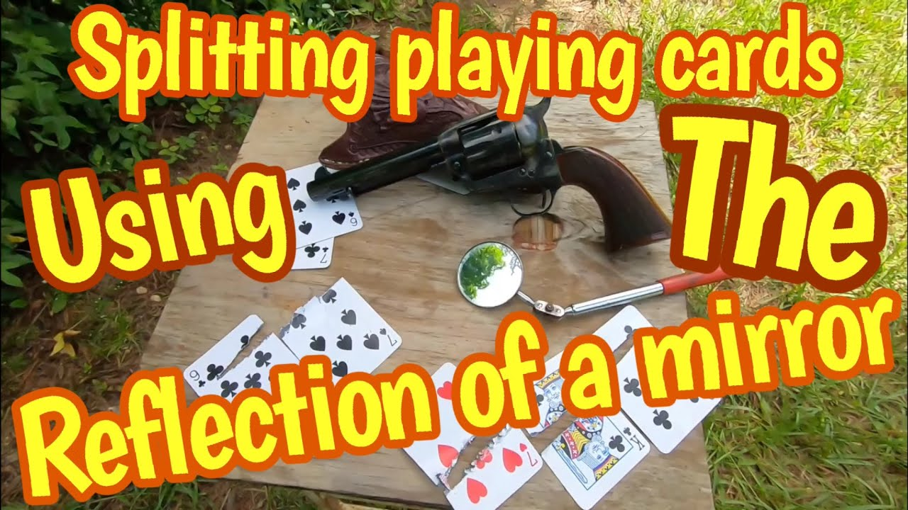 Using the reflection of a mirror shoot playing cards with a 73 Colt