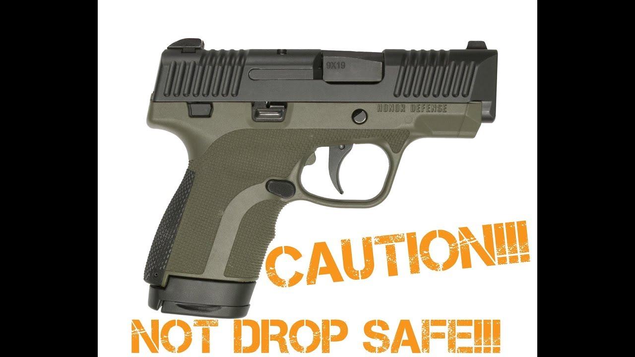 Honor Guard Pistols Not Drop Safe!!!