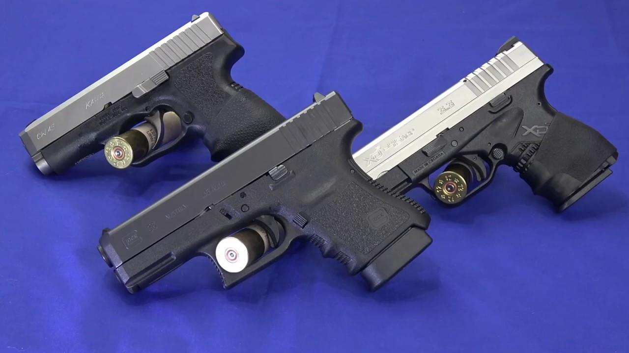 Single Stack 45 Comparison: Glock 36, Kahr CW45 & Springfield XDs