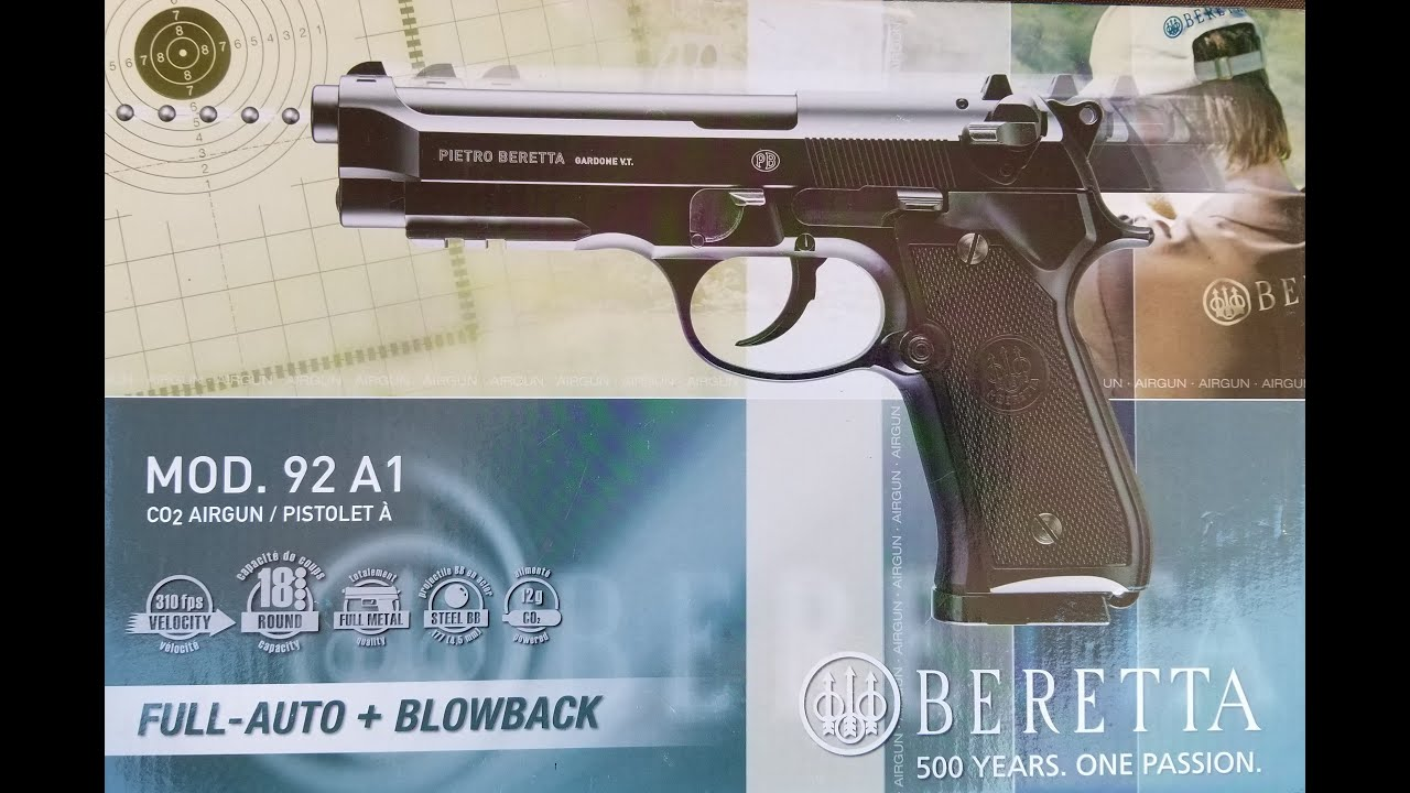 Beretta 92A1, Full Auto, Co2, .177 cal, Blowback BB Pistol