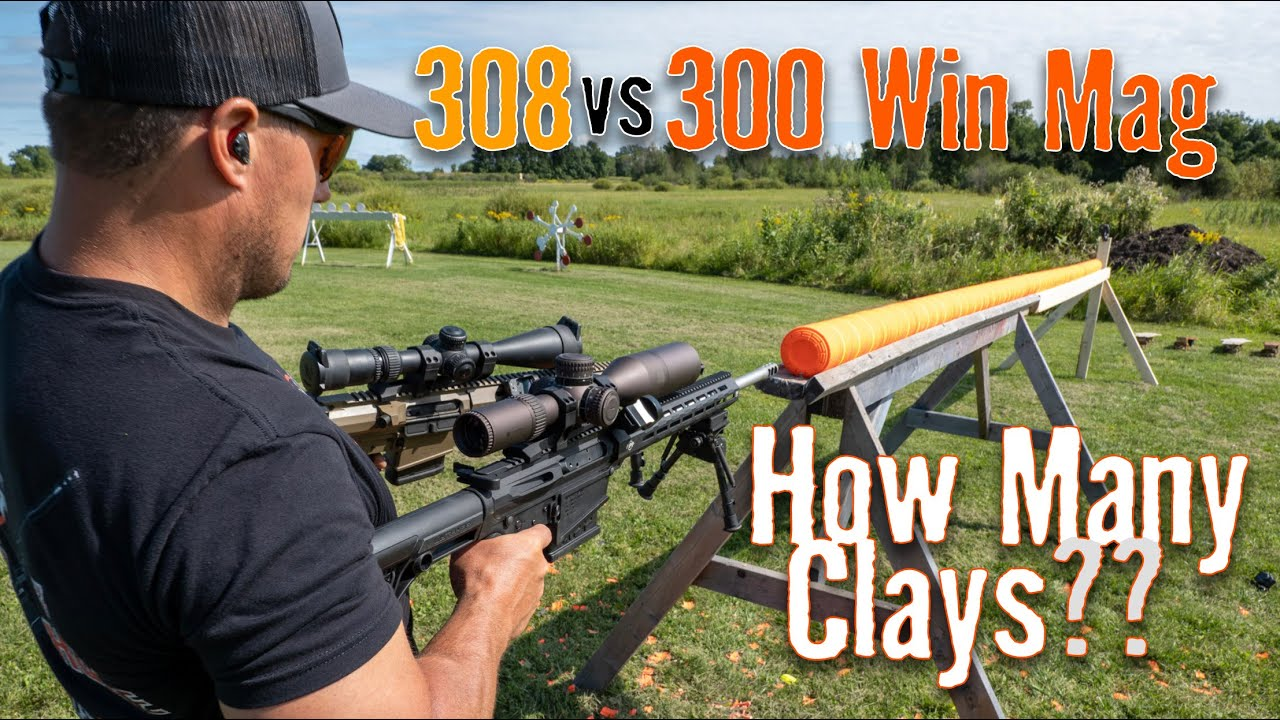 308 vs 300 Win Mag 💥 How Many Clays Will They Shoot Through? | Gould Brothers