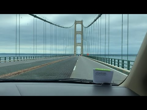 Going over Mackinac bridge Michigan