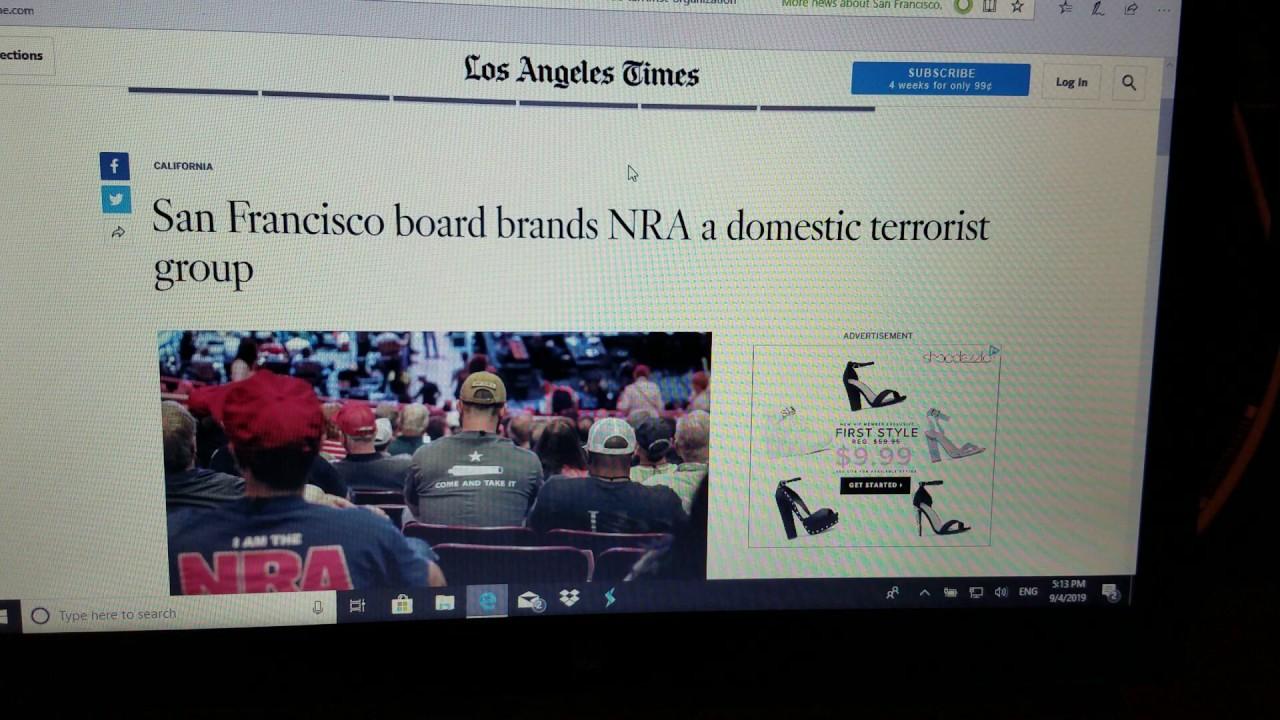 San Francisco board labels NRA a Terrorist Group.