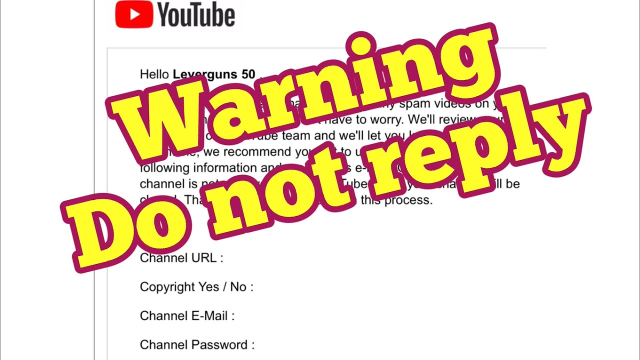 Scam on YouTube, fake emails from YouTube