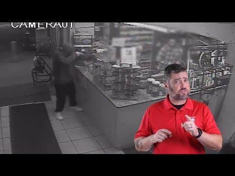 Employee Wrestles Scattergat Away From Robber