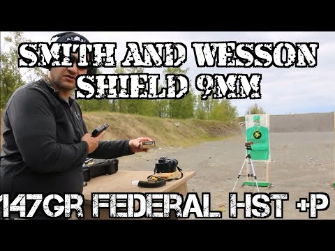 Smith and Wesson M&P Shield 9mm Federal 147 +p HST