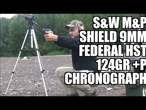 Smith and Wesson Shield 9mm Federal Hst 124gr+P chronograph...