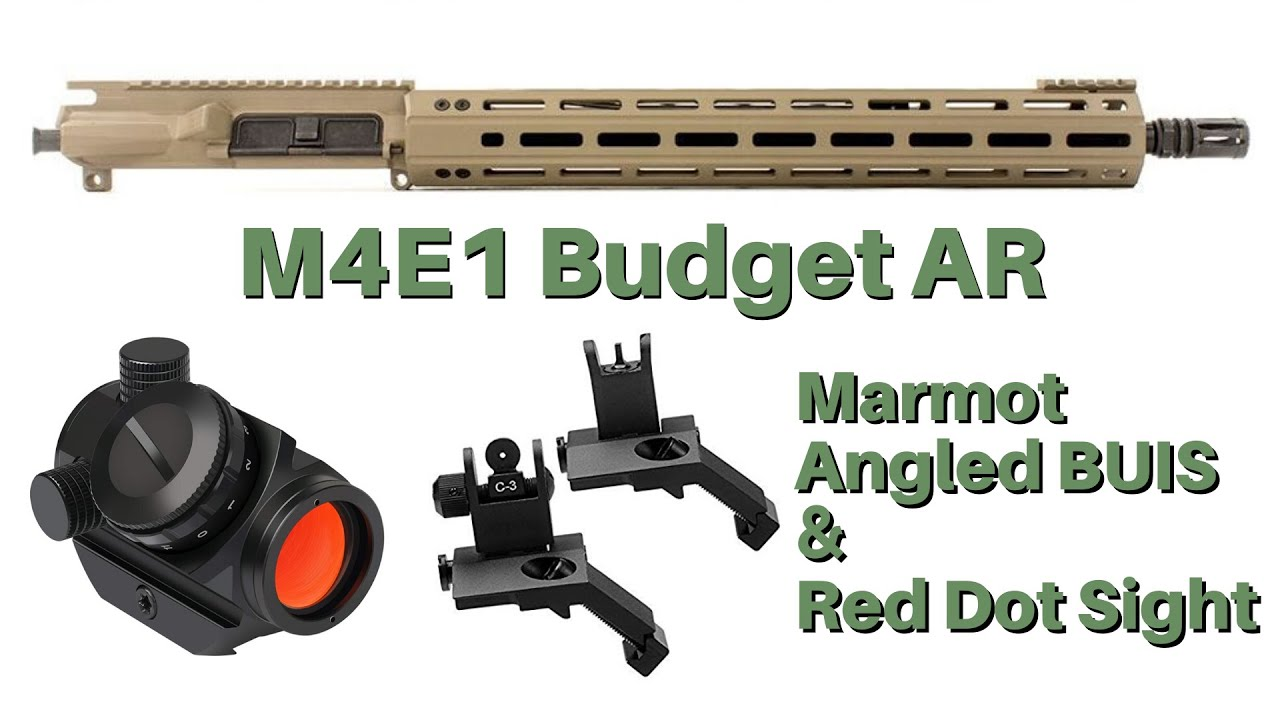 Budget AR Upper and Marmot Back Up Angled Iron Sights and Marmot Red Dot Sight Review Video