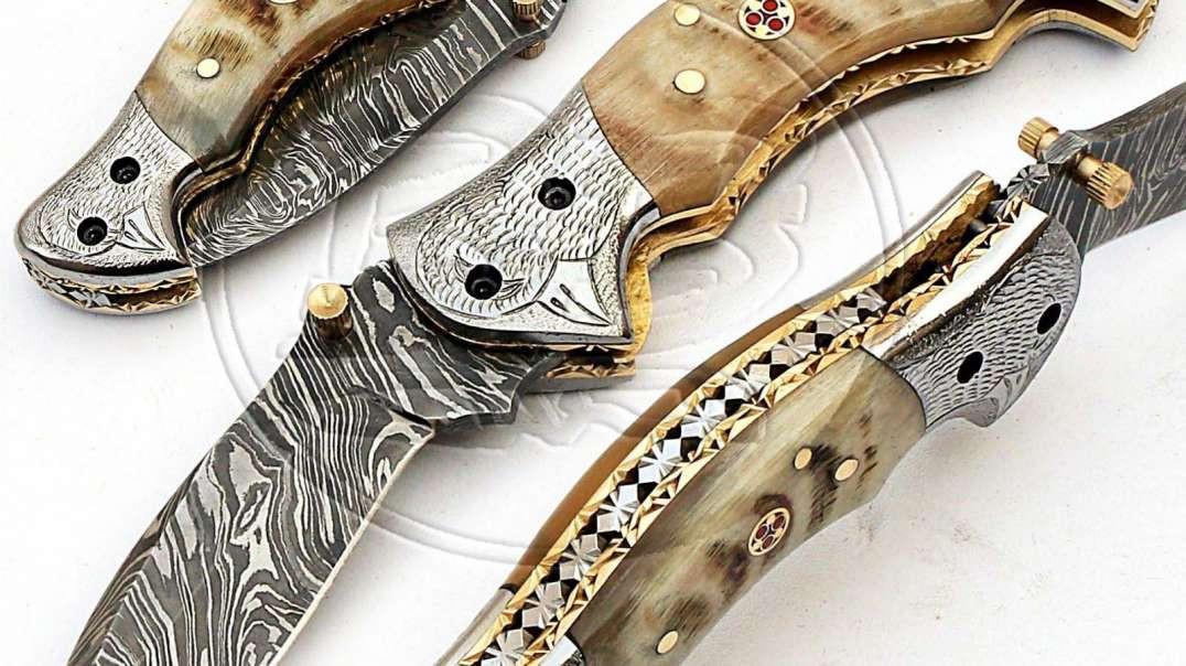 Damascus 5073 Ram Horn Folding Knife.