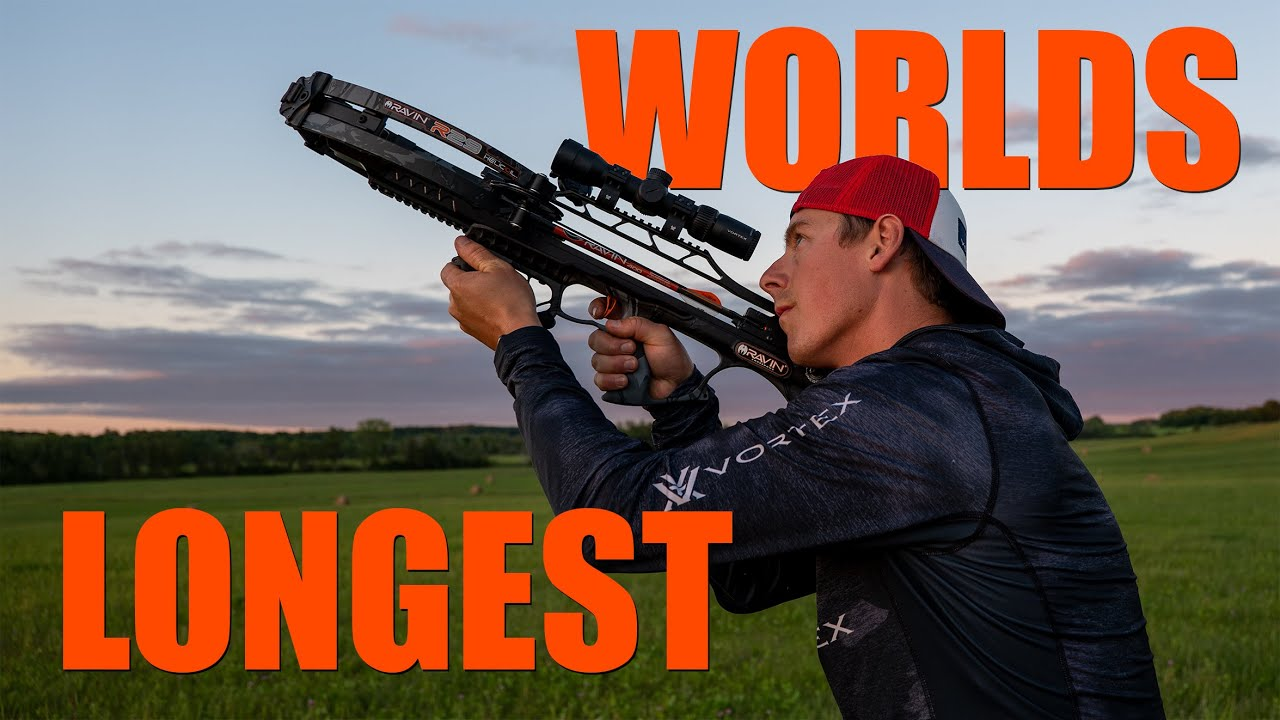 Worlds Longest Crossbow Shot on a Flying Clay Pigeon | Gould Brothers